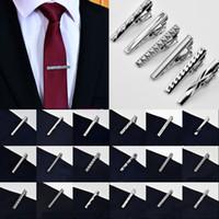 pin clip de corbata al por mayor-2018 Moda Metal color plateado 4 CM Simple corbata Tie Bar Broche Clip Clamp Pin para hombre regalo 24 estilos envío gratis D766S
