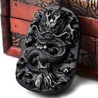 ingrosso nero giada scolpito ciondolo drago-Yu Xin Yuan Bella cinese lavoro manuale naturale nero ossidiana giada intagliata drago amuleto collana pendente fortunato gioielli di moda