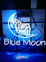 sinal de luz de néon da lua azul venda por atacado-Nova Estrela de Sinal de Néon Fábrica 17X14 Polegadas de Vidro Real Luz de Sinal de néon para Beer Bar Pub Sala de Garagem Lua Azul.