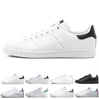 zapatos casuales de cuero negro para hombre al por mayor-Adidas Original smith hombres mujeres zapatos casuales verde negro blanco azul rojo rosa plata para hombre stan zapatos de cuero de moda zapatillas de deporte