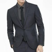 koyu gri düğün kravat toptan satış-Yüksek Kaliteli Damat Smokin Iki Düğme Koyu Gri Çentik Yaka Groomsmen Best Man Suit Erkek Düğün Takımları (Ceket + Pantolon + Kravat) 374