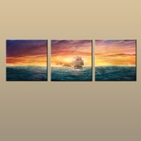 ingrosso arredamento in fantasia-Incorniciato / Senza cornice Hot Modern Canvas Wall Art Print Pittura Fantasy Artwork Pirates Ship Boat Immagine astratta 3 pezzo Living Room Home Decor