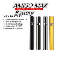 ingrosso elettronica di sigaretta mini ce5-Batterie originali Amigo MAX Vape Pen Preriscaldamento batteria Tensione variabile 380mAh Carica inferiore Bottom caricata 510 Batteria per carrelli Amigo V9
