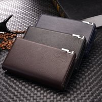 Wholesale wallet bag clutch hand online - 3 Colors Men Long PU Leather Wallet Card Holder Zipper Clutch Bag Purse Large Clutch Wallet whit Hand Rope AAA694