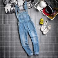 dbaedd48894 Korean Fashion Men s Slim Long Jeans Jumpsuits Male Casual Denim Bib  Overalls For Man Suspender Pants Trousers Pocket Black Blue