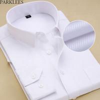 ingrosso camicie sottili bianche al collo-Colletto spalmato Slim Fit da uomo Camicia Drees bianca 2018 Camice nuovissimo Camicia da ufficio sociale per uomo 8XL