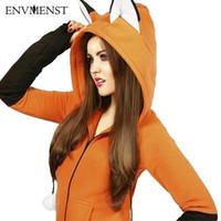 raposas hoodie venda por atacado-2018 Encantador Hoodies Mulheres Camisolas Inverno Novidade Foxes Orelha Com Capuz Pulôver Zíper Casaco Anime Dos Desenhos Animados Cosplay Outfit