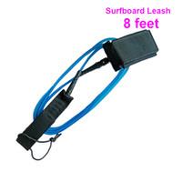 cuerda de tabla al por mayor-Tableros 1PC Deporte Tabla de surf Azul TPU Leash Board Pie Paddle Pierna Surf cuerda 8 pies SURFL003