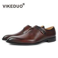мужская обувь из кожи ручной работы оптовых-Vikeduo 2018 handmade designer Vintage fashion  casual Wedding Party  male shoe Genuine Leather Mens monk dress Shoes