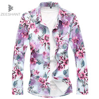 Lncdis Men Shirt 2019 New Mens Clothing Spring Summer Casual Flower Print Long Sleeve Slim Fit Male Shirt Top Blouse A5 Fancy Colours Shirts