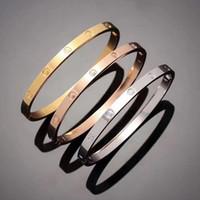 ingrosso braccialetti di chiodo placcati oro-Modello caldo in acciaio inox argento Bracciale amore 5 millimetri in titanio Bracciale in oro 18 carati Bracciali placcato braccialetti per le donne regalo gioielli