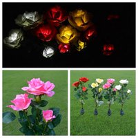Wholesale waterproof balcony lights - LED Solar Power Flower LED Light Waterproof Outdoor Garden Yard Lawn Landscape Balcony Decorative Lamp Heads Rose DDA319