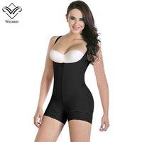 bodysuits mais de tamanho feminino venda por atacado-Wechery Mulheres Body Shaper Stretchy Bodysuits Sexy Plunge U Lace Emagrecimento Cueca Espartilhos Bunda Bodysuit Lifter Plus Size S-6XL