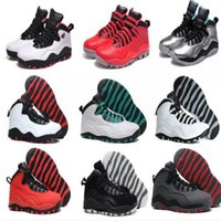 Wholesale Steel Toed Boots - Free shipping Original Retro 10 Mens Basketball Shoes Black Steel Grey Powder Blue Chicago Seattle Ice Blue Athletics Sport Sneaker Boots