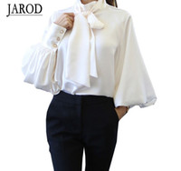 blusa de mujer al por mayor-2017 Pure White Bow Tie Blusa de Gasa Mujeres Camisa de Oficina Linterna Manga Blusas Blusas Femininas Formal Ladies Tops