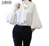 gömlek için yay toptan satış-2017 Saf Beyaz Papyon Bluz Şifon Kadın Ofis Gömlek Fener Kollu Bluzlar Blusas Femininas Resmi Bayanlar Tops