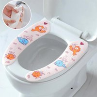 ingrosso coperte di sedili igienici caldi-Tappetino per WC appiccicoso Cuscino per sedile Cuscino per WC riutilizzabile Coprivaso morbido per bagno Accessori per bagno sanitari lavabili