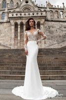 Wholesale Robe de mariage New Arrival Mermaid Wedding Dresses Illusion Neck Long Sleeves Court Train Bridal Gowns Button Back