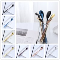 Wholesale Small Metal Spoons - New strange stainless steel ice spoon 7 colors restaurant home milk tea coffee stir spoon Delicate small mixing spoon
