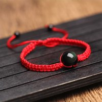 ingrosso perline rosse da 16mm-Braccialetti 16mm Braccialetti Natural Black Ossidiana Braccialetto tessuta a mano Lucky Red Rope Rainbow Eye Beads Ball per coppia uomo donna