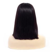 короткие прямые человеческие волосы оптовых-150% Плотность Парики Фронта Шнурка Человеческих Волос С Волосами Младенца Бразильские Человеческие Волосы Реми 10