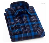 algodón cepillado para hombres al por mayor-Camisas a cuadros de algodón casual para hombres Bolsillo de manga larga Slim Fit Cómoda camisa de franela cepillada Estilos de ocio Tops Camisa Envío gratis