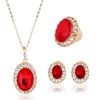 joyas de boda del medio oriente al por mayor-Exagerado Oriente Medio estilo de piedras preciosas collar conjunto de joyas accesorios de la boda
