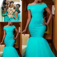 mini vestido de novia más al por mayor-2019 País sirena Turquesa Vestidos de dama de honor africanos Fuera del hombro Talla grande Encaje Dama de honor Fiesta nupcial Vestidos de invitados de boda