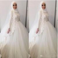 ingrosso abito da sposa moderno di hijab-Abiti da cerimonia nuziale musulmani moderni dell'abito di sfera del Hijab 2018 Collo alto Appliques del merletto perline Abiti Dubai Abiti da sposa arabo del merletto