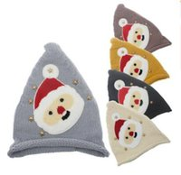 Wholesale cream knitted baby hat for sale - Group buy 5 colors Christmas Baby Boys Girls Santa Claus knitting hats infant Knit wool cap kids Xmas hat