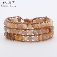 браслеты из натуральной кожи оптовых-OAIITE Top Quality Natural Stone 3 Layer Leather Bracelet Wrap Beaded Bracelets Unique Mixed Handmade Boho Bracelet Dropshipping