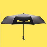kinder schwarze regenschirme großhandel-Mode Cartoon Dämon Kinder Regenschirm Automatische Sonnenschirm Regen Frauen Schwarz Beschichtung Anti UV Kinder 3 Falten Sonnenschirm