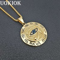 Wholesale evil eye jewelry for men resale online - Egyptian The Eye of Horus Pendant Necklace For Women Men Gold Color Stainless Steel Evil Eyes Necklace Egypt Round Jewelry
