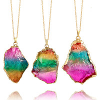 Wholesale stone pendant necklaces for men resale online - Colorful Exquisite Necklace Natural Crystal Healing Point Chakra Bead Gemstone Pendant For Men And Women Jewelry Chains Hot Sale yh XB