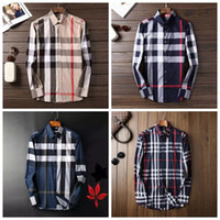 Wholesale Long T Shir - 2018 Brand Men's Business Casual shirt mens long sleeve striped slim fit camisa masculina social male T-shirts new fashion man checked shir