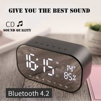 uhr radio mini usb großhandel-Spiegel Bluetooth Lautsprecher Protable mit Uhr Temperatur USB, TF Karte, FM Radio Handsfre Calling für iphone X 8 7 6 Samsung S9 Mini-Lautsprecher