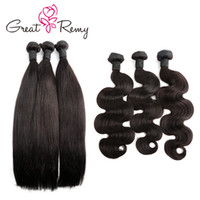 siyah saç uzatmalar 18 inç toptan satış-Greatremy®3pcs / lot Ucuz Donör Brezilyalı Saç Örgü Demetleri Doğal Siyah Vücut Dalga Düz Kıvırcık İnsan Saç Uzantıları 300 g / grup Satışa 7 ...