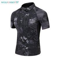 camisas táticas de secagem rápida venda por atacado-WOLFONROAD Verão Homens Quick Drying T Camisa de Acampamento Caminhadas Camiseta Camisas Ao Ar Livre Camuflagem T-Shirt T-Shirt L-PLY-07