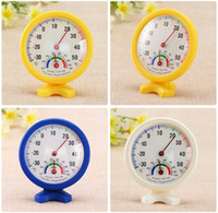 Wholesale outdoor thermometer free ship for sale - Group buy Round Shape Mini White Indoor Outdoor Analog Centigrade Thermometer Hygrometer Temperature Humidity Meter Measuring tools