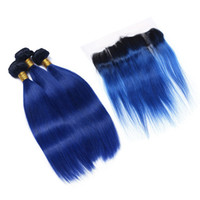 Wholesale blue ombre virgin hair resale online - Ombre Color B Blue Human Hair Weft With Lace Frontal Virgin Human Ombre Hair Bundles With Ear To Ear Frontal