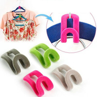Wholesale Slip Closet - New Arrive Home Creative Mini Flocking Non-slip Clothes Hanger Easy Hook Closet Organizer Free Shipping wen5813