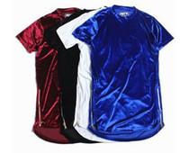 t-shirt à fermeture à glissière hommes achat en gros de-Nouveau Mode Huit Rue Hommes Longue Chemise Velour Hommes Hip Hop Longline T Chemises D'or Côté Zipper Velours Courbe Ourlet Tee