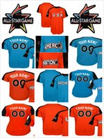Wholesale World Games - 2017 All-Star Game Custom Mens Ladies Kids National League American League World USA Blue Orange name&no.&team cool flex baseball jerseys