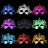 demi-masques colorés achat en gros de-P051 Promotion Vénitien Halloween Simulation Dessin Coloré Cardin Masques Or Poudre Couronne Demi Masque Livraison Gratuite