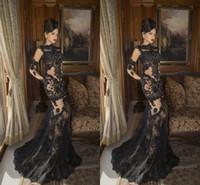ingrosso zuhair murad indossa i vestiti-Zuhair Murad Full Lace 2019 Black Mermaid Prom Dresses Gioiello Collo Maniche lunghe Vedere attraverso Applique in pizzo Formale Abiti da sera Abiti da sera