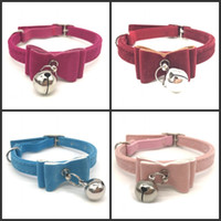 Wholesale dog collar leather fashion online - Small Bell Bow Tie Flocking Dog Collars Fashion Pet Security Elastic Cat Collar Neck Chain Pets Supply jw gg