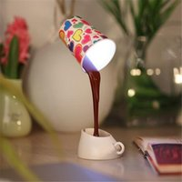 Wholesale brown lampshade - Creative DIY Coffee Cup Lampshade LED Down Night Lamp Home USB Battery Pouring Table Light for Study Room Bedroom Decoration