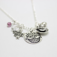 Wholesale alice wonderland charm - 12pcs lot We're All Mad Here Alice in Wonderland Mad Hatter Hand Stamped charm Pendant Cat Smile Gift Fairytale Jewlery