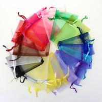 sacos de cordão roxos venda por atacado-Atacado 7 * 9 cm Sacos de Jóias MISTURADO Organza Jóias Festa de Casamento favor Sacos de Presente de Natal Roxo Azul Rosa Amarelo Preto Com Cordão