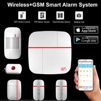 voz gsm seguridad para el hogar al por mayor-Wireless WiFi + GSM Home House Alarm System Multi idioma Smart Security Burglar Inteligente Voice Prompt Alarm Sensor Kit
